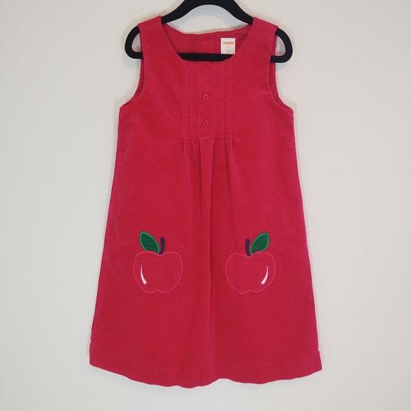 Gymboree 7 Dress Jumper Corduroy School Apples Red